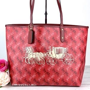 NWT COACH Reversible City Tote Bag Horse Carriage - Red